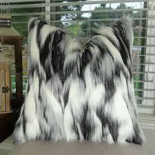 Faux Fox Fur Throw Gray Black Luxury Faux Fur Throw Pillow Accent Pillow 17438