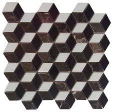 polished illusion 3d interlocking mosaic marble tile modern
