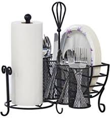 amazon com black metal mesh kitchen picnic buffet caddy holder