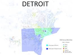 Detroit In World Map by Racial Map Of Detroit From R Mapporn Detroit