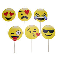 photo booth supplies 6pcs emoji photo booth props mask birthday party decoration