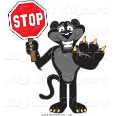 jaguar clipart big cat cartoon vector clipart of a happy black jaguar mascot
