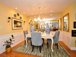 yellow and white light orange dining room has grey contemporary