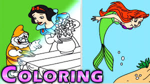 disney princess coloring pages ariel cinderella snow white kids