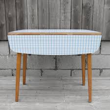 1960s original old blue check formica folding kitchen table on