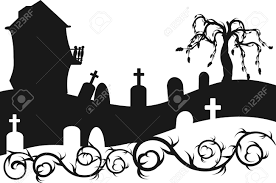halloween house clipart halloween haunted house with graveyard illustration one color