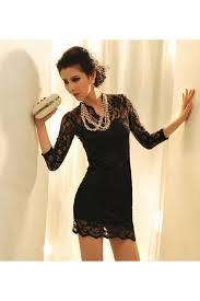 black v neck three quarter sleeve mini lace dress casual dresses