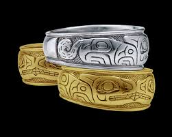 art silver rings images Native art style rings depicting the wolf engraved in silver or gold png