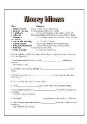 english teaching worksheets money idioms