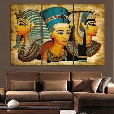 aliexpress com buy 3 pcs egyptian pharaoh canvas oil painting