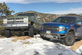 Old Ford Mud Truck - old vs new 2014 ford raptor vs 1985 chevy k10 vs gold mine