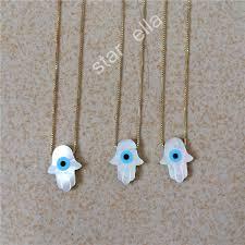 hamsa sterling silver necklace images 925 sterling silver natural mother of pearl hamsa necklace mop jpg