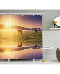 shower curtain horse valley with lake print for bathroom