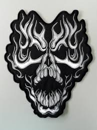halloween patches embroidered biker back fired skull patch