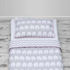Duvet Cover Cot Bed Size Grey Elephants U0026 Chevron Design With Pink Piping Cot Bed Size