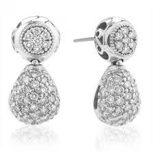 diamond teardrop earrings charriol 18 karat white gold diamond teardrop pave earrings
