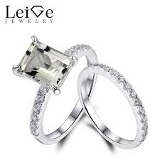 green amethyst engagement ring leige jewelry 925 sterling silver green amethyst engagement ring