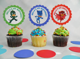 personalized cupcake toppers pj masks cupcake toppers 3 sweet memories party boutique