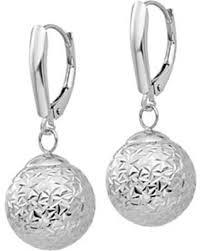 dangling earrings hot sale 14k white gold diamond cut dangle earrings