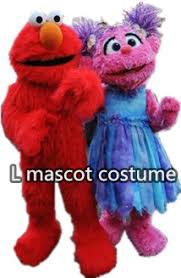 sesame street red elmo and blue cookie monster mascot costumes