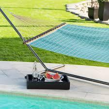 Hayneedle Hammocks Twin Oaks Poolside Sunbrella Quick Dry Double Hammock With Stand