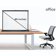 Portable Meeting Table Portable 40 Inches 4 3 Matt White Table Projection Screen Desk