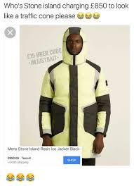 Meme Jacket - who s stone island charging e850 to look like a traffic cone