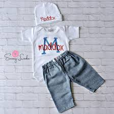 monogram baby items baby boy clothes denim look personalized bodysuit and hat