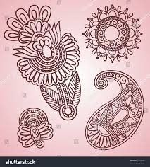 handdrawn henna mehndi tattoo flowers paisley stock vector
