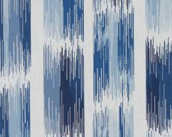 Blue And White Striped Upholstery Fabric Blue White Curtains Etsy