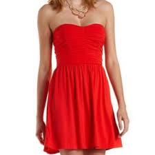 cheap red strapless skater dress ivo hoogveld