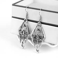 skyrim earrings 3d the elder scrolls v skyrim earrings antique silver rhombus