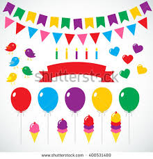 birthday ribbon vector happy birthday set balloons ribbon stock vector 400531489