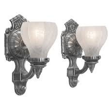 Pewter Sconces Antique Edwardian Style Pair Of Pewter Color Wall Sconces Ant 402