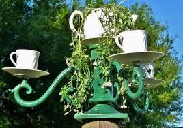Tea Cup Chandelier Light Fixture Magic In The Garden Flea Market Gardening