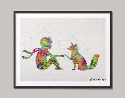 2017 original watercolor little prince with fox wall art canvas 2017 original watercolor little prince with fox wall art canvas painting nursery poster print pictures kids room home decor gifts from garden1988