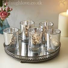 silver tea light holders 5 silver tea lights on mirrored fretwork tray live laugh love
