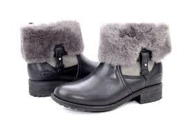 s grey ankle ugg boots ugg australia chyler black leather cuff sheepskin ankle