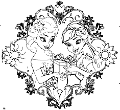 fever elsa anna gift coloring page wecoloringpage раскраски