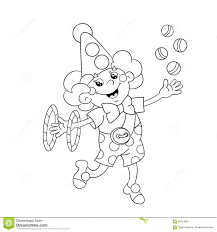 coloring page outline of a funny clown juggling balls stock vector