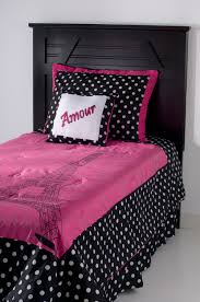 Girls Pink And Black Bedding by Amour Pink U0026 Black Paris Eiffel Tower Bedding Full Queen 4pc