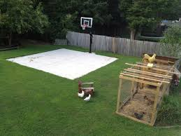 backyard basketball on a concrete slab