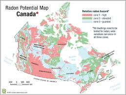 map of canada radon gas map for canada potential risk of radon gas