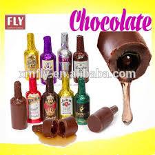 wine chocolate bottle shape truffle rhum colorful sweet liqueur chocolate center
