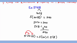 distributive property of multiplication over addition mp4 youtube