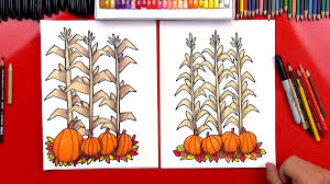 how to draw autumn corn stalks and pumpkins harvest art for