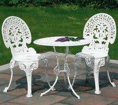 VintageShabby Chic White Cast Iron Garden Furniture Set Table - Outdoor iron furniture
