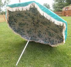 Floral Patio Umbrella Vintage Midcentury 7ft Finkel Floral Fringe Turquoise Patio