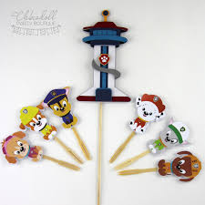 paw patrol cake topper deluxe set bamboo skewer and cocktail