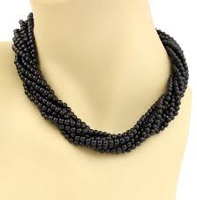 bead necklace sterling silver images Tiffany co black onyx multi strand sterling silver toggle clasp jpg
